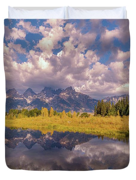 Duvet Cover featuring the photograph The Grand Tetons National Park Autumn Olena Art Fall Colors Photography by OLena Art Brand
