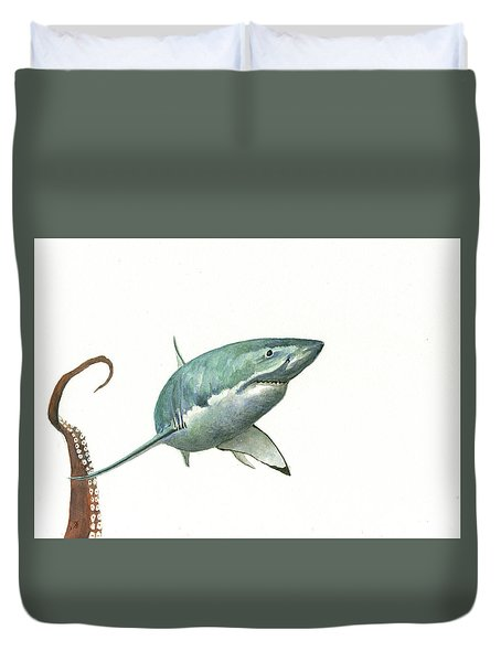 The Great White Shark And The Octopus Duvet Cover