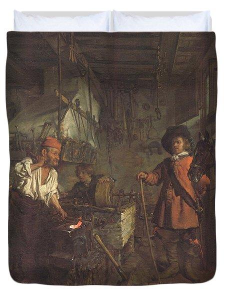The Interior Of A Smithy Duvet Cover