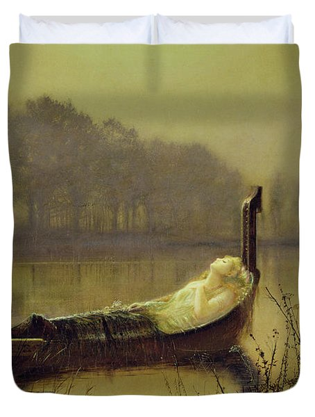 The Lady Of Shalott Duvet Cover by John Atkinson Grimshaw