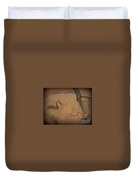 Duvet Cover featuring the painting The Lake by Elizabeth Fontaine-Barr