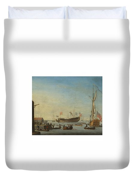 The Launch Of A Man Of War Duvet Cover by Robert Woodcock