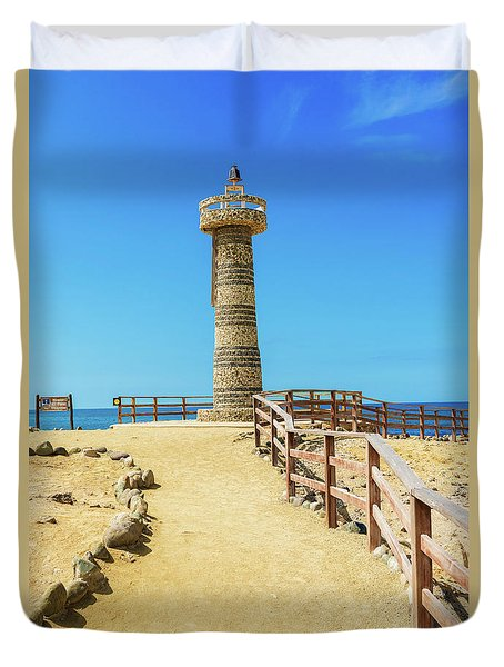 The Lighthouse In Salinas, Ecuador Duvet Cover