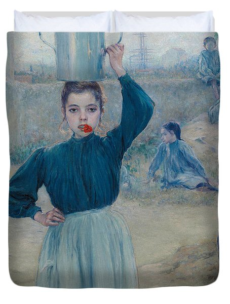 The Little Village Girl With Red Carnation Duvet Cover by Adolfo Guiard