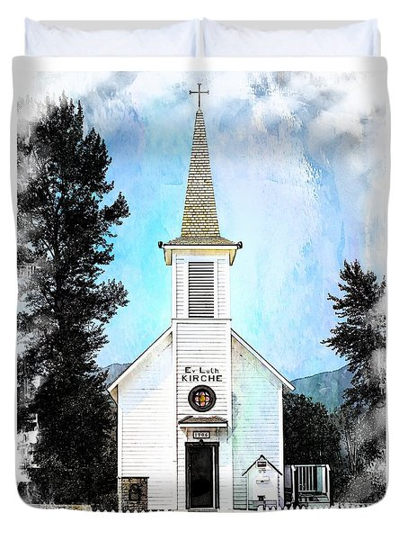 The Little White Church In Elbe Duvet Cover by Joseph Hendrix