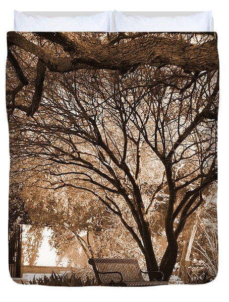 The Lonely Bench Duvet Cover by Donna Greene
