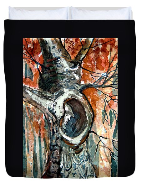 The Man In The Tree Duvet Cover by Mindy Newman