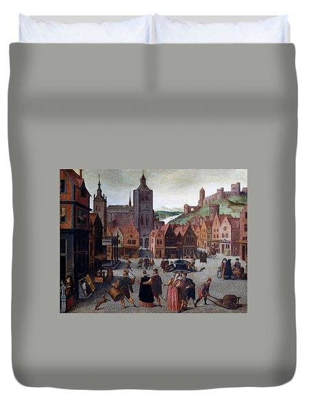 The Marketplace In Bergen Op Zoom Duvet Cover