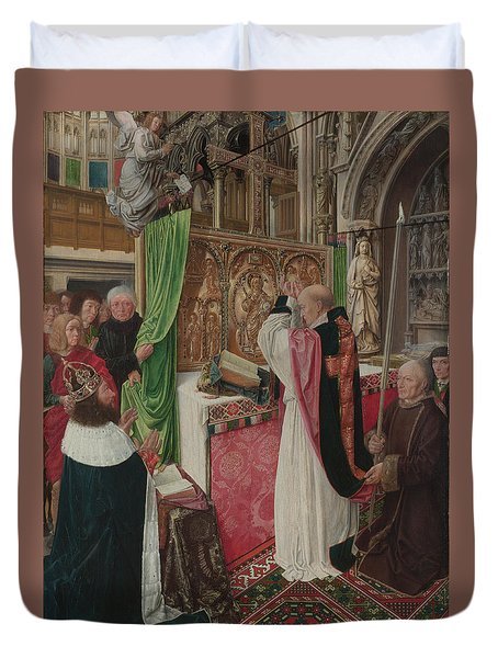 The Mass Of Saint Giles Duvet Cover by Master of Saint Giles