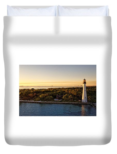 Duvet Cover featuring the photograph The Miami Lighthouse by Lars Lentz