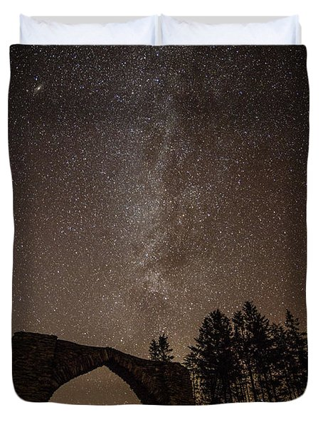 The Milky Way Over The Hafod Arch, Ceredigion Wales Uk Duvet Cover