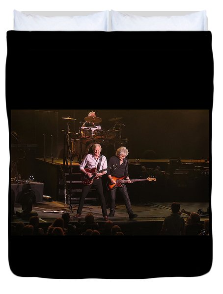 Duvet Cover featuring the photograph The Moody Blues Live In Atlantic City by Melinda Saminski