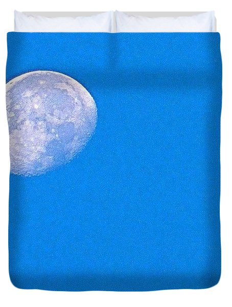 The #moon This #morning. #bluesky Duvet Cover