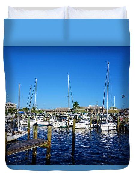 The Naples City Dock Duvet Cover
