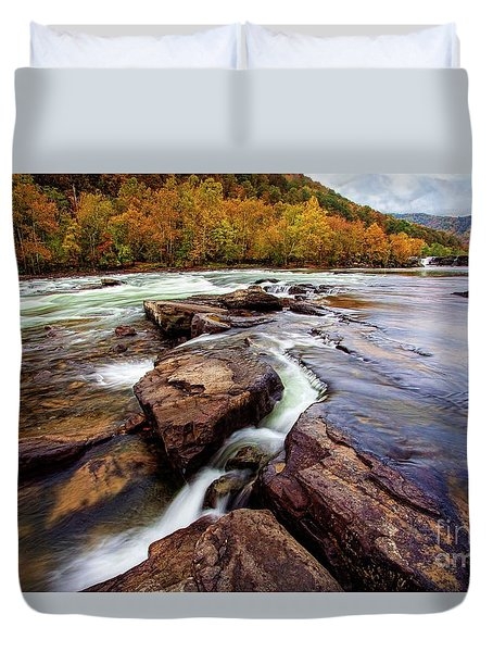The New River At Sandstone Falls Duvet Cover