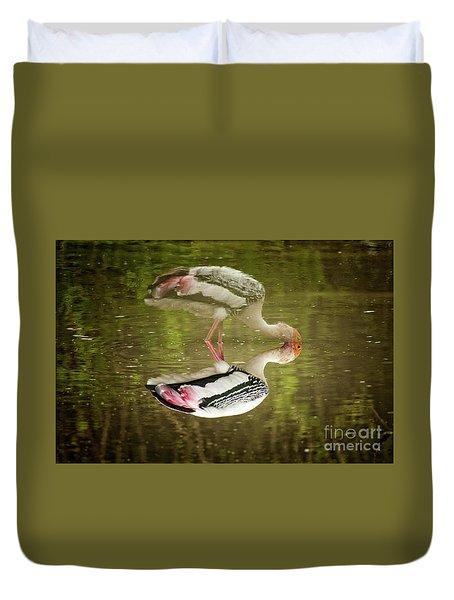 The Painted Stork  Mycteria Leucocephala  Duvet Cover