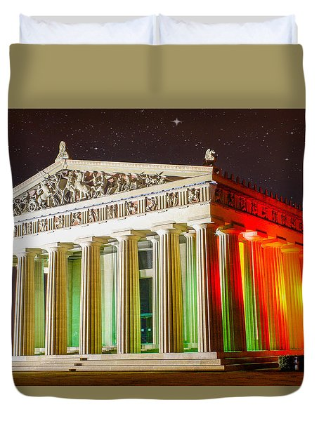 The  Parthenon Under The Stars Duvet Cover