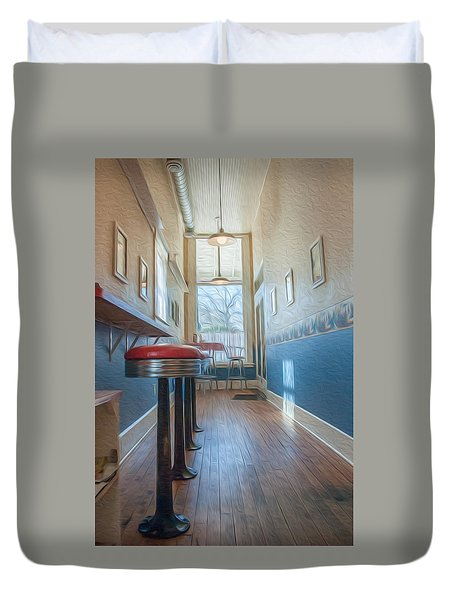 Duvet Cover featuring the photograph The Pie Shop by Dan Traun