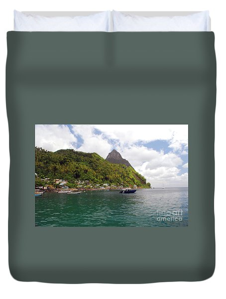 Duvet Cover featuring the photograph The Pilons by Gary Wonning