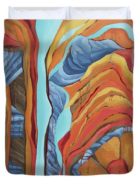 Duvet Cover featuring the painting The Rocks Cried Out, Zion by Erin Fickert-Rowland