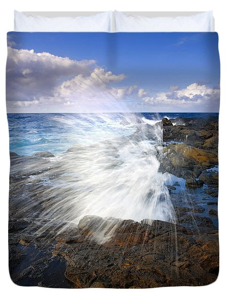 The Sea Erupts Duvet Cover by Mike  Dawson