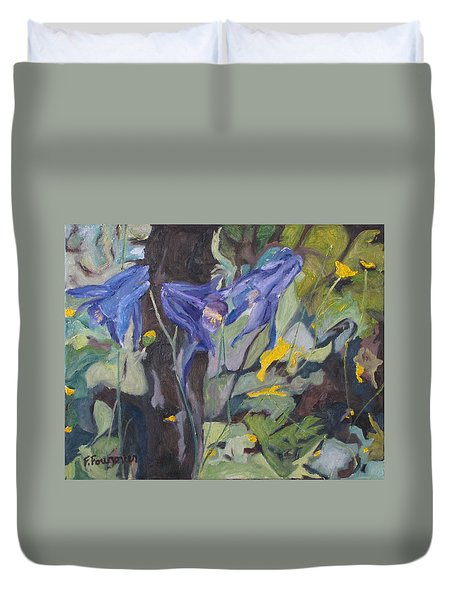 The Three Columbines  Duvet Cover by Francois Fournier