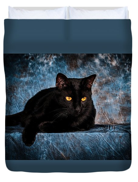 The Witches Cat Duvet Cover by Doug Long