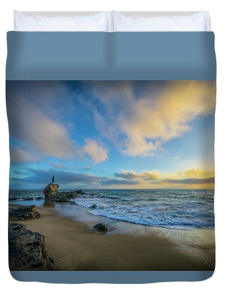 The Woman And Sea Duvet Cover