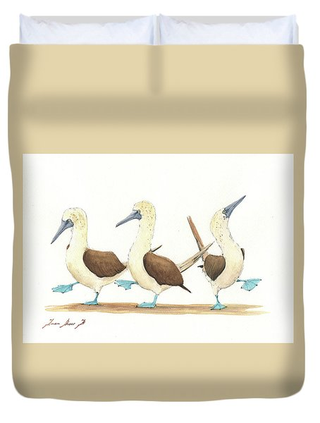 Three Blue Footed Boobies Duvet Cover by Juan Bosco