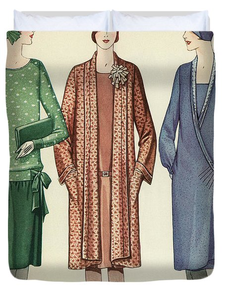 Three Flappers Modelling French Designer Outfits, 1928 Duvet Cover