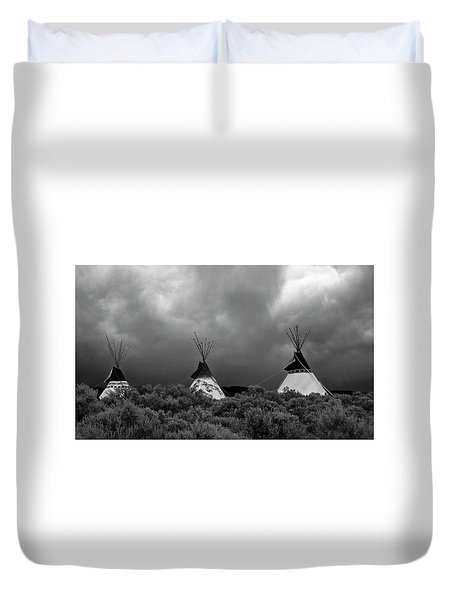 Duvet Cover featuring the photograph Three Teepee's by Carolyn Dalessandro