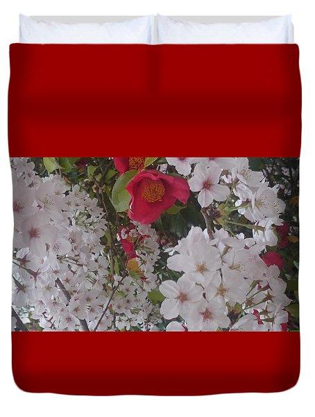 Thubaki Means Camellia Duvet Cover