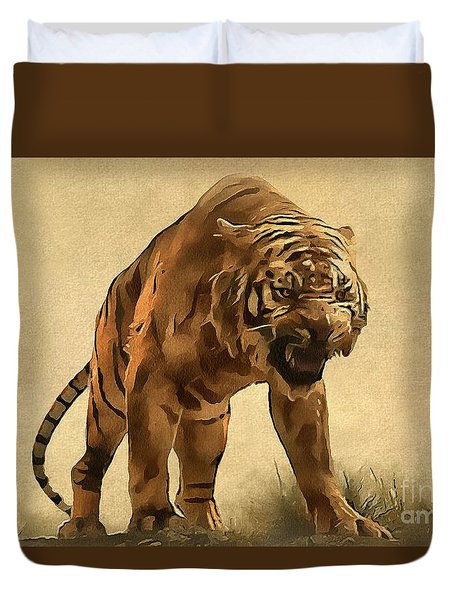 Tiger Duvet Cover by Sergey Lukashin