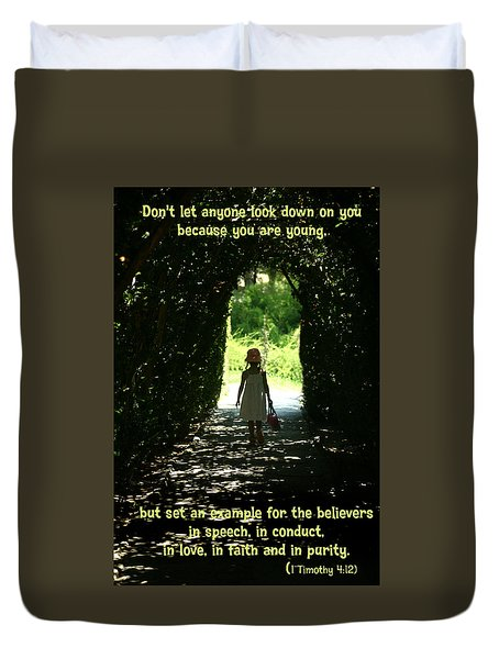 Duvet Cover featuring the photograph 1 Timothy 4 12 by Emanuel Tanjala