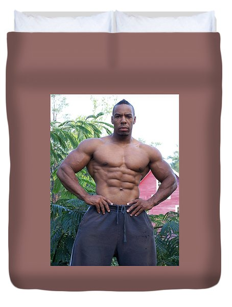 Duvet Cover featuring the photograph Titan The Art Of Muscle by Jake Hartz