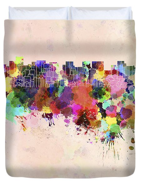 Tokyo Skyline In Watercolor Background Duvet Cover by Pablo Romero
