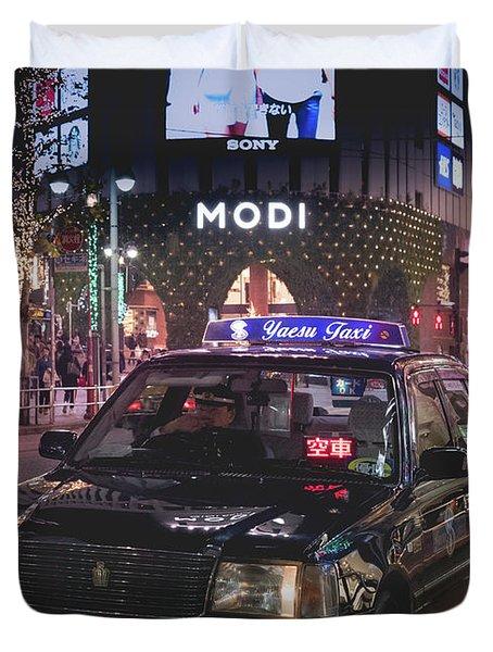 Tokyo Taxis, Japan Duvet Cover
