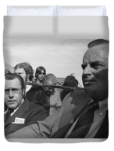 Duvet Cover featuring the photograph Tom Barrett And Earl Clark Hitler Cars Auction Scottsdale Arizona 1973-2016 by David Lee Guss