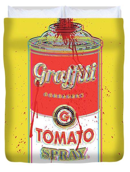 Tomato Spray Can Duvet Cover by Gary Grayson
