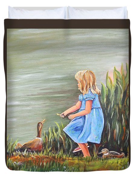 Duvet Cover featuring the painting Tori And Her Ducks by Patricia Piffath