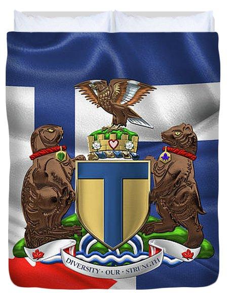 Toronto - Coat Of Arms Over City Of Toronto Flag  Duvet Cover