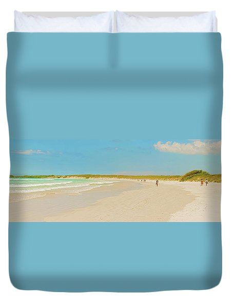 Duvet Cover featuring the photograph Tortuga Bay Beach At Santa Cruz Island In Galapagos  by Marek Poplawski