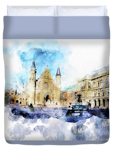 Town Life In Watercolor Style Duvet Cover