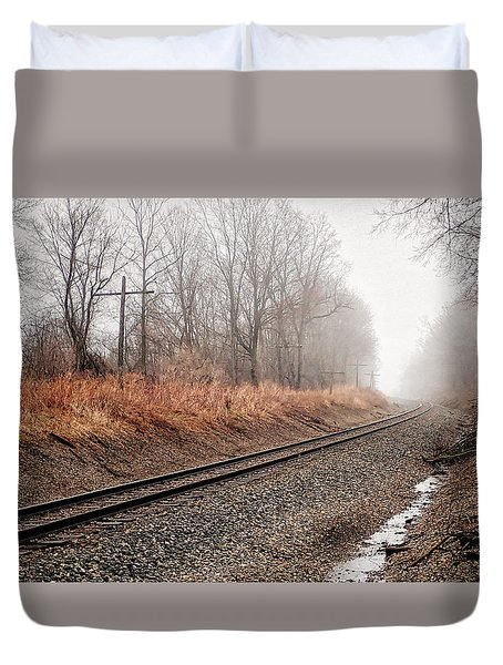 Duvet Cover featuring the photograph Tracks In Morning Fog by Lars Lentz