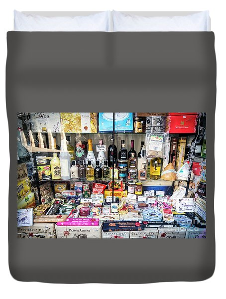 Traditional Spanish Deli Food Shop Display In Santiago De Compos Duvet Cover