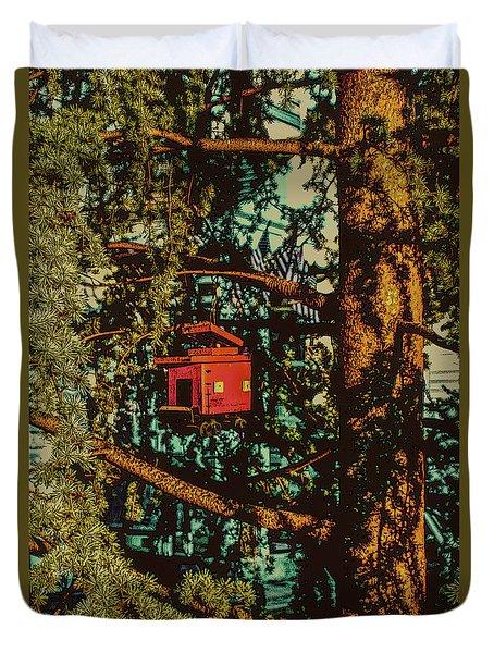 Train Bird House Duvet Cover
