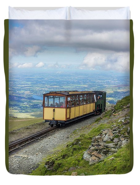 Duvet Cover featuring the photograph Train To Snowdon by Ian Mitchell