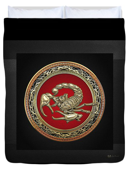 Treasure Trove - Sacred Golden Scorpion On Black Duvet Cover