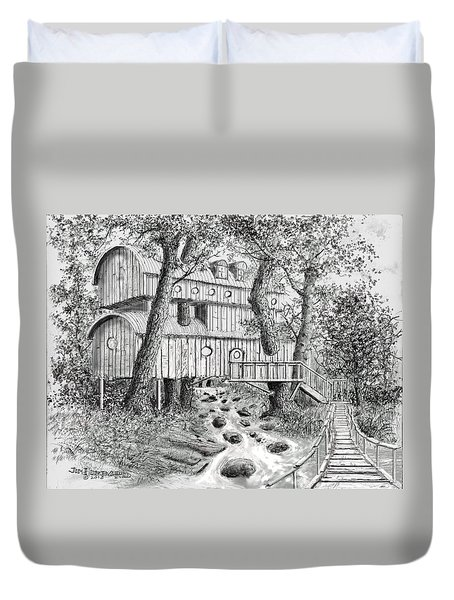 Duvet Cover featuring the drawing Tree House #5 by Jim Hubbard