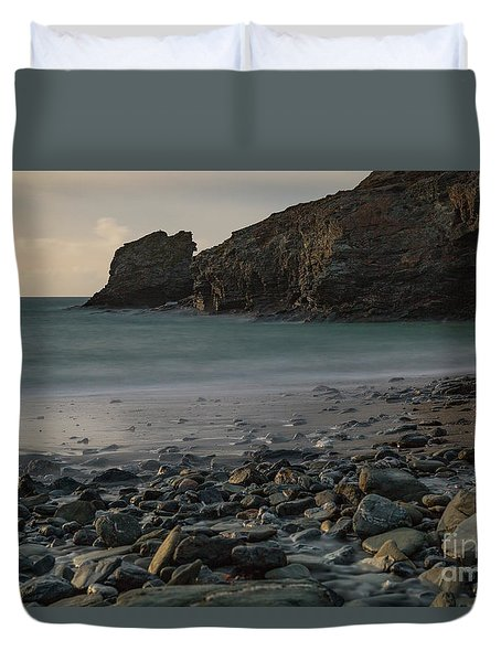 Duvet Cover featuring the photograph Trevellas Cove by Brian Roscorla